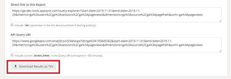 Query Explorerの実行結果をTSVファイルとしてダウンロードするボタン