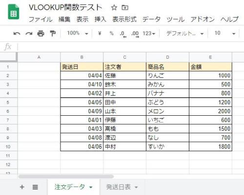 GoogleスプレッドシートでVLOOKUP関数を活用する際のサンプル例の表