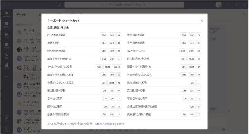 Teamsアプリのビデオ会議用に用意されたショートカットキー一覧
