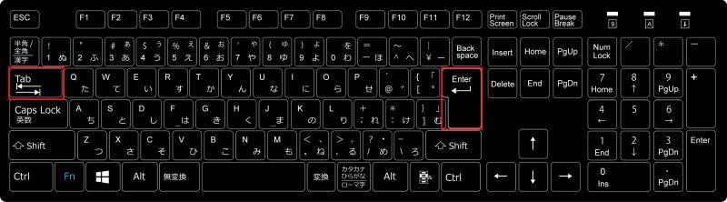 キーボード入力で特殊なエンターキーの改行とタブなどはエスケープ文字として表現