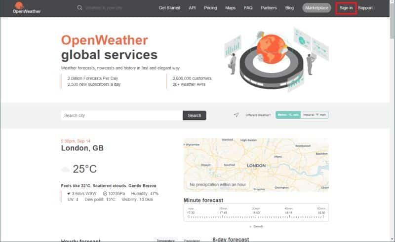 Open Weather Map(オープンウェザーマップ)のAPIキー取得方法ーまずオープンウェザーマップの会員登録を行う