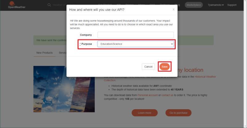 OpenWeatherMapのAPI利用目的について記入する。会社ではない場合は、Companyの情報は入力不要