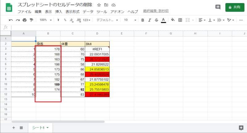 Google Apps Script(GAS)のdeleteCellsでSpreadsheetApp.Dimension.ROWSを引数にしてして実行した結果