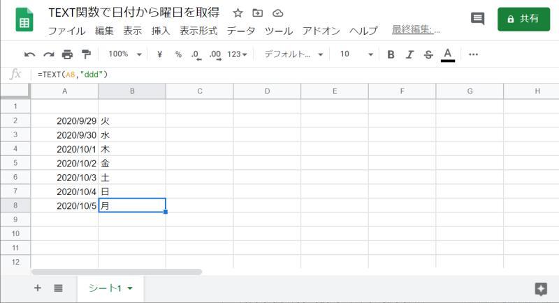 Googleスプレッドシートのシートに入力された連続する日付すべてに曜日情報が入るようになる。