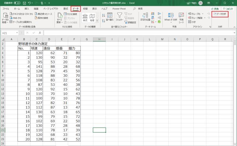 エクセル2019で重回帰分析をする方法①データ>データ分析をクリックする