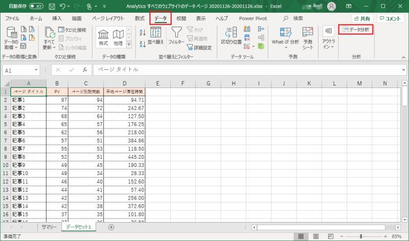 マイクロソフト・エクセル2019のメニュー「データ」から右端にあるデータ分析をクリック