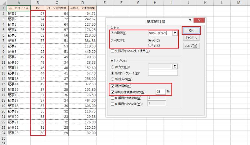 基本統計量を算出したいセル範囲を選択し、出力する項目を選択した上でOKボタンをクリックする