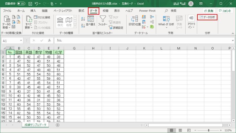 エクセル2019のデータ分析でヒストグラムを作成する方法。まずデータ分析のウィンドウを立ち上げる