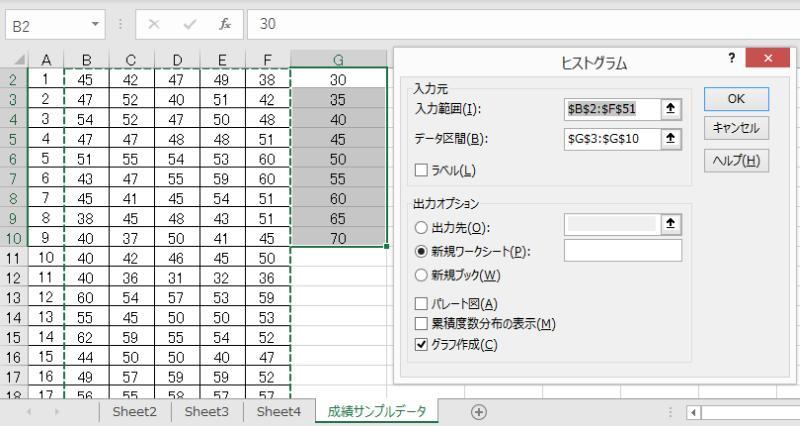 エクセル2019のデータ分析「ヒストグラム」で入力範囲とデータ区間も一緒に設定することが可能