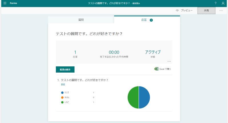 FormsアプリでTeams上で行ったアンケート結果が確認可能。グラフ化されていて見やすい