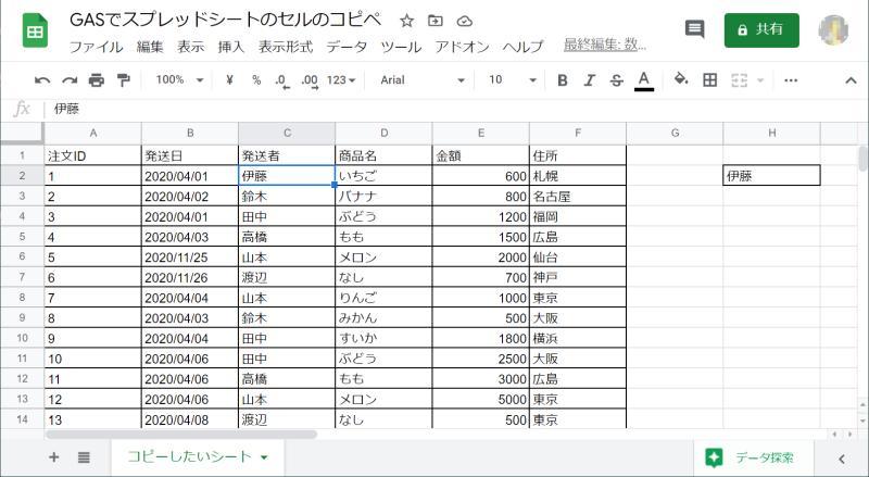スプレッドシートのセルのコピペを行うGoogle Apps Script(GAS)のサンプルコードを実行した結果