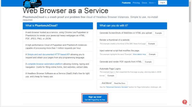 PhantomJsCloudのトップページの画面でSign upのボタンをクリック