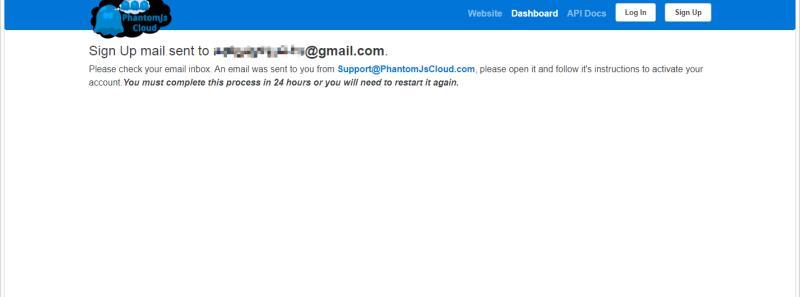 PhantomJsCloudの認証メールが送信された胸の画面表示