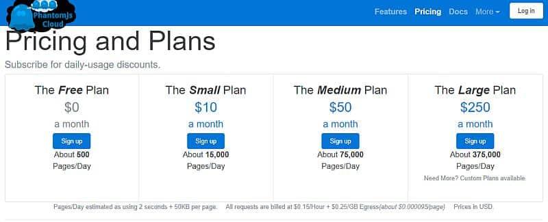 PhantomJsCloudは無料プランと有料プランが計4種類ほどある