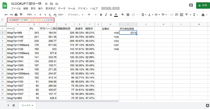 GoogleスプレッドシートでVLOOKUPで部分一致による検索を行う関数の記述方法