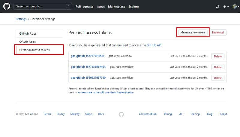 Githubメニューの「Personal Access Token」を選択し、Generate new tokenを選択します