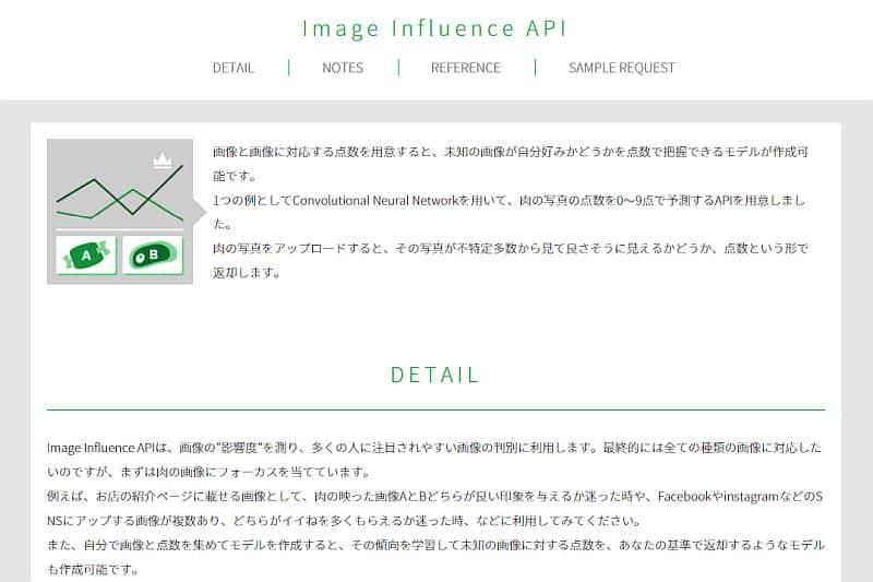 リクルートの無料AIサービス・A3RTの中で画像の判定・評価する「Image Influence API」の画面