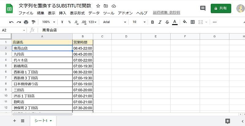 Googleスプレッドシートの標準の置換機能で文字列を置換すると、データ自体が変更される。