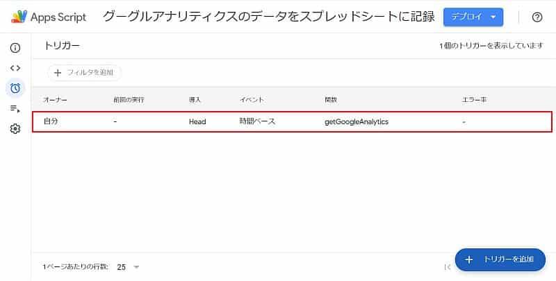 Google Apps Scriptのスクリプトのトリガー登録が完了すると、トリガー管理画面に登録したトリガーが表示される