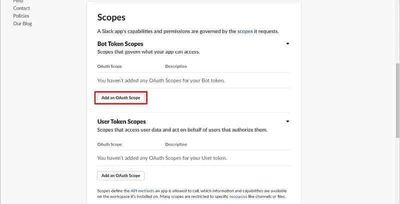 Slack APIのOAuth & Permissionsから、「Add OAuth Scope」ボタンをクリック