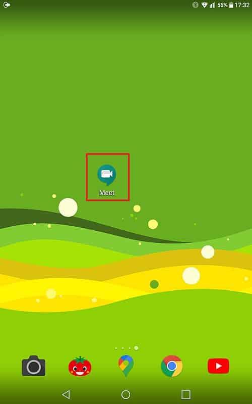 タブレットにインストールしたGoogle Meetアプリのアイコンをタップしてアプリを起動
