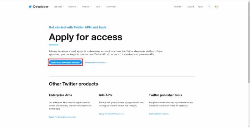 TwitterAPIの利用申請を開始する「Apply for access」のページにアクセスし、「Apply for a developer account」をクリック