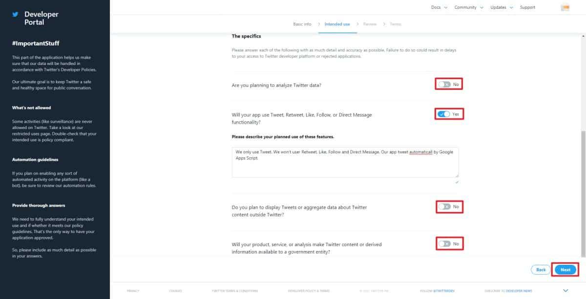 TwitterAPIの利用用途に応じて、トグルボタンをON/OFFします。図はTwitterボットを作成する場合のON/OFF