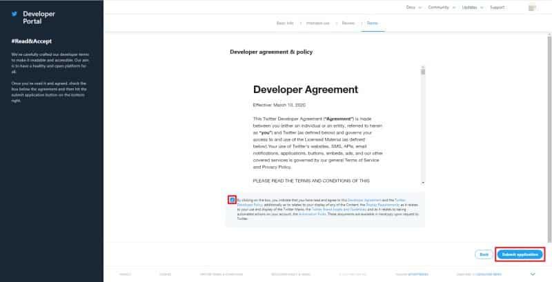 TwitterAPIの利用規約が表示されるので、同意のチェックボックスをチェックし、申請ボタンをクリック