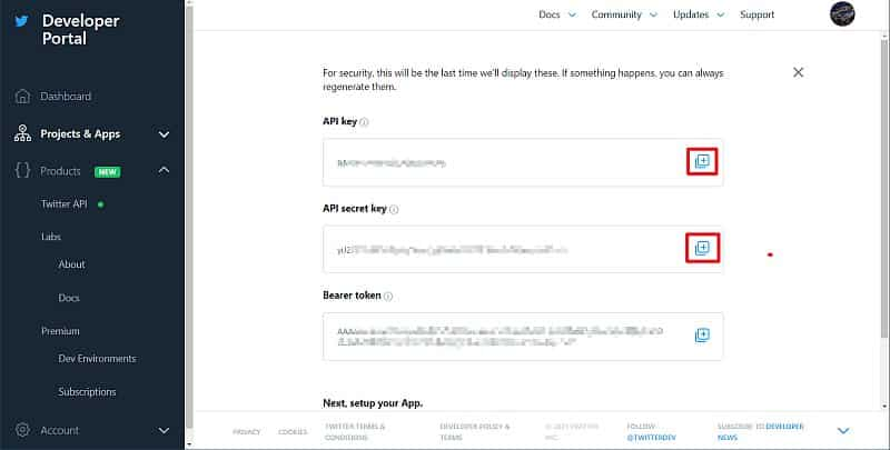 TwitterAPIのAPIキーとシークレットキーを取得
