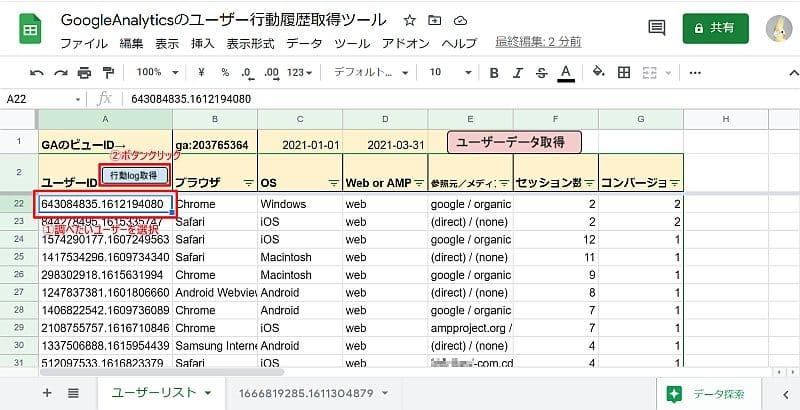 行動履歴を確認したいユーザーのクライアントIDを選択した状態で、行動log取得ボタンを押すと、Google Analyticsのユーザーレポートのデータを取得