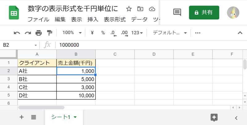 スプレッドシートでセルの金額数字を千円単位で表示を変更