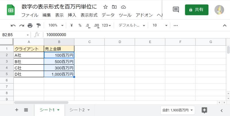 スプレッドシートで金額数字の表示形式を「○百万円単位」にした表示結果