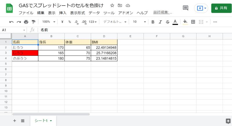 setBackgroundメソッドを実行するGoogle Apps Scriptのサンプルコードを実行した結果、特定のセルが色掛け