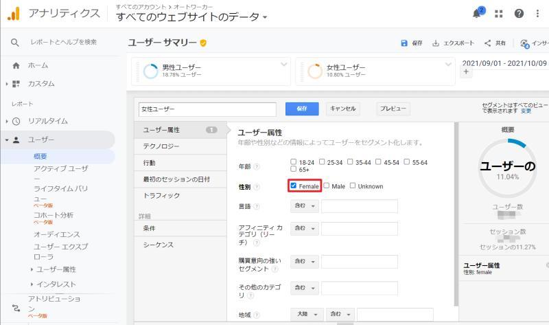Google Analytics(グーグルアナリティクス)のセグメント設定で性別で女性(female)を選択したセグメントユーザーを作成