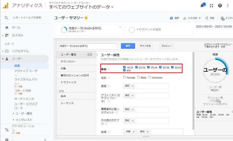Google Analytics(グーグルアナリティクス)で性別の年代別をすべてにチェックを入れたセグメントデータ